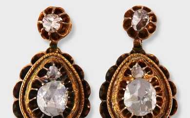 A pair of Georgian diamond and ten karat gold drop