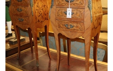 A pair of Louis XV style marquetry inlaid marble topped beds...