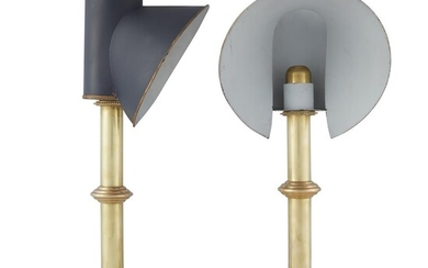 A pair of Regency style brass and tole lamps...