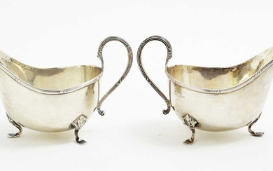 A pair of silver sauce boats, by Walker & Hall