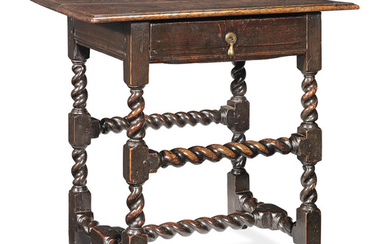 A particularly small and good Charles II joined oak side table, circa 1660