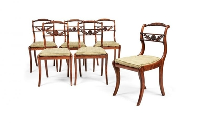 A set of six Regency beechwood dining chairs, circa 1815, in the manner of Gillows