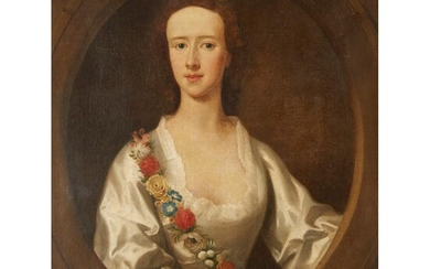 ALLAN RAMSAY (SCOTTISH 1713-1784) HALF LENGTH PORTRAIT OF A LADY SAID TO BE MISS MACKINTOSH