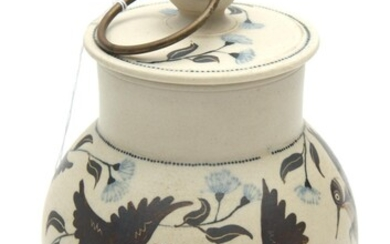 AN AUSTRALIAN HANDCRAFTED CERAMIC LIDDED BOX BY PETER MINKO, CIRCULAR SHAPE WITH FLAT ROUND COVER AND RING FINIAL, THE BASE AND TOP...