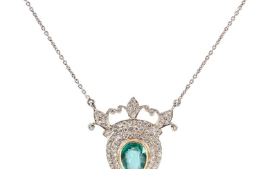 AN EMERALD AND DIAMOND PENDANT/NECKLACE - Featuring a pear cut emerald weighing 4.50cts, within a double border of round brilliant c...