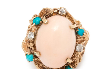 ANGEL SKIN CORAL, TURQUOISE AND DIAMOND RING