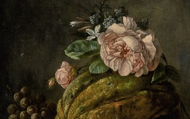 ANNE VALLAYER-COSTER   STILL LIFE OF A MELON, A PEACH, GRAPES AND FLOWERS ON A LEDGE