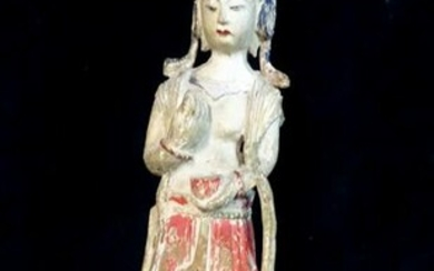 "ASIAN CARVED WOOD QUAN YIN MOUNTED AS A LAMP 32""H"