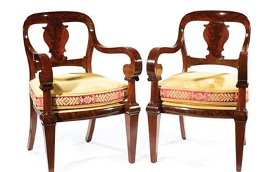 American Classical Carved Mahogany Armchairs