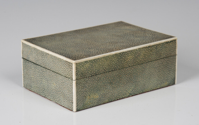 An Art Deco shagreen cigarette box by Asprey, London, with ivory stringing and plated metal patent l