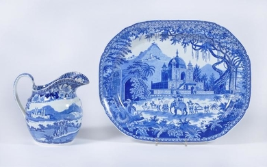 An English blue and white printed 'Mausoleum of Sultan Purveiz near Allahabad' serving dish attributed to Herculaneum