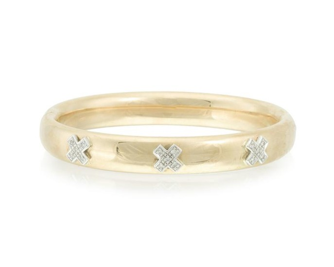"An Italian diamond ""X"" hinged bangle bracelet"