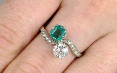 An early 20th century platinum emerald and old-cut