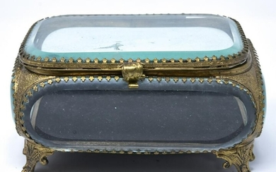 Antique French Beveled Glass Casket Jewelry Box