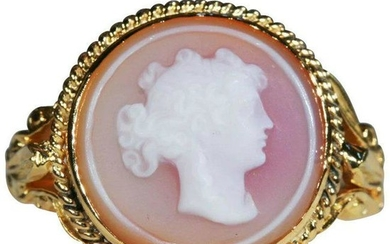 Antique Hard Stone Cameo Ring, Conversion in 14k & 18k