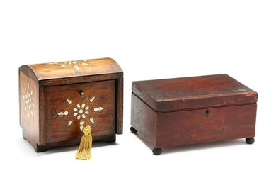 Antique Sewing Box and Inlaid Jewelry Box