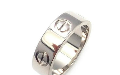 Authentic! Cartier 18k White Gold Love Band Ring Size