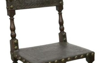 BAROQUE STYLE TOOLED LEATHER SIDE CHAIR