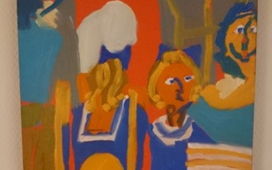 Bentemarie Kjeldbæk: Composition with figures. Signed on the reverse BM Kjeldbæk, 2000. Oil on canvas, 35×25 cm. Unframed.