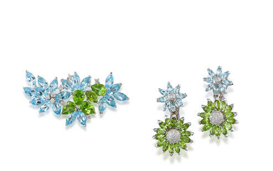 Blue Topaz, Peridot and Diamond Brooch and Pair of Pendent Earring Suite
