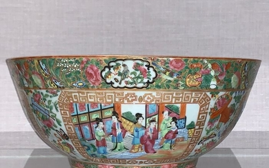 Bowl (1) - Canton, Famille rose - Porcelain - Large punch bowl - China - Mid 19th century