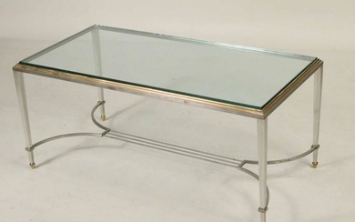 Brass and White Metal Glass Top Low Table