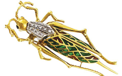 Brooch depicting a cricket in yellow gold, white...