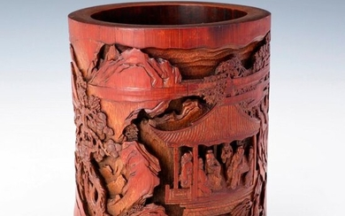 """""""CARVED BAMBOO BRUSHPOT""""h17.0×w15.0 cm"""