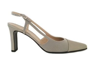 CHANEL. Grey patent leather and canvas strapped pumps....