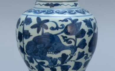 "CHINESE BLUE AND WHITE PORCELAIN VASE Ovoid, with peony decoration. Height 7""."