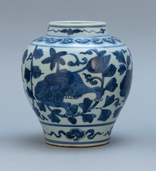 """CHINESE BLUE AND WHITE PORCELAIN VASE Ovoid, with peony decoration. Height 7""""."""