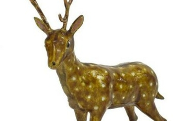 CHINESE ENAMELED SILVER GILT SPOTTED DEER STAG