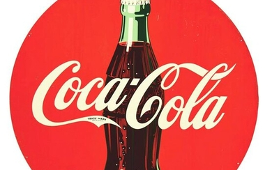 COCA COLA TIN SIGN W/ EARLY BOTTLE GRAPHIC.