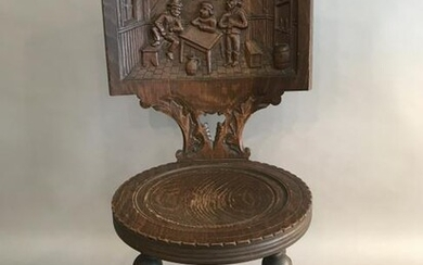 CONTINENTAL CARVED OAK SIDE CHAIR
