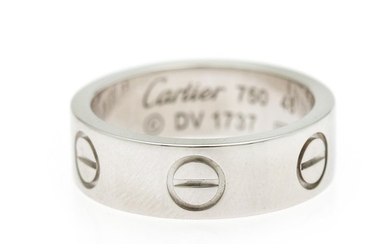 "Cartier: A ""Love"" ring of 18k white gold. Size 48. Weight app. 6.5 g."