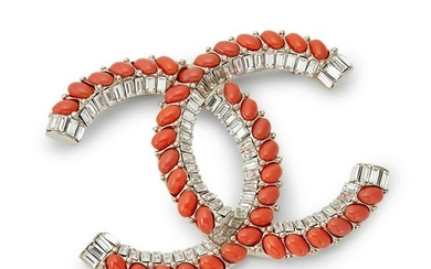 Chanel - an imitation coral and paste brooch.