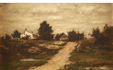 Charles Linford (American, 1846–1897) Farmhouse on a Hill Signed...