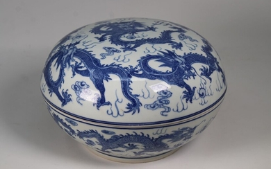 Chinese, 5-Claw Dragon Blue/White Box. Signed