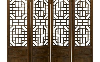 Chinese Carved Wood Four-Panel Screen