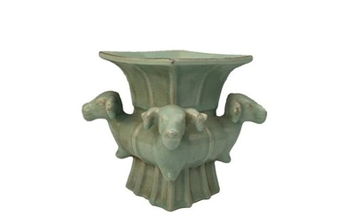 Chinese Celadon Glazed Square Four Sheep Statue
