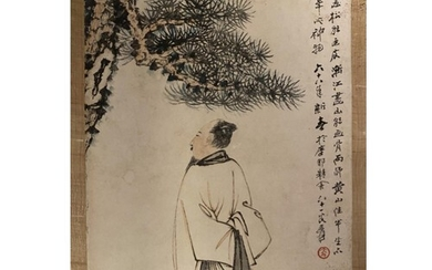 Chinese Ink And Watercolour Painting, A Man under A Pine Tr...