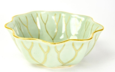 Chinese Lotus Form Green Glazed Porcelain Bowl