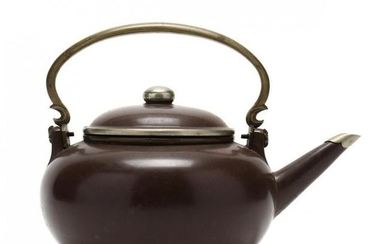 Chinese Polished Yixing Teapot with Metal Mounts