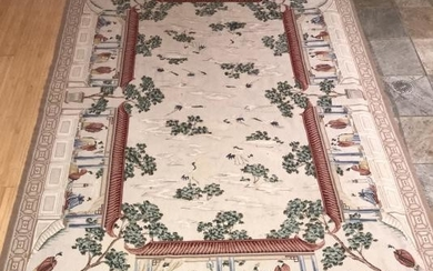 Chinoiserie Motif Needlepoint Tapestry Carpet