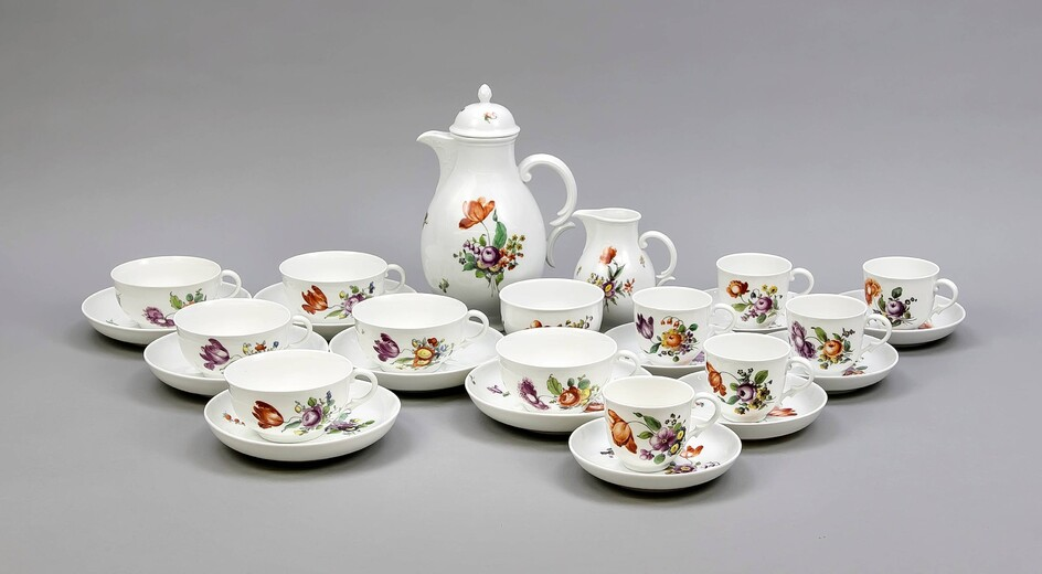 Coffee / tea set for 6 persons, 27 pcs., Nymphenburg, mark 1925-75, polychromatic flower painting, coffee pot, h. 23 cm, milk jug, min. Chip, and sugar, 6 coffee cups with saucers, h. 7 cm, 6 teacups with saucers, H. 6 cm