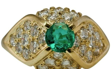 Colombian Emerald Diamond Ring 14K Yellow Gold