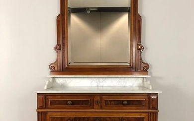 Commode, with mirror - Marble, Walnut - Second half 19th century