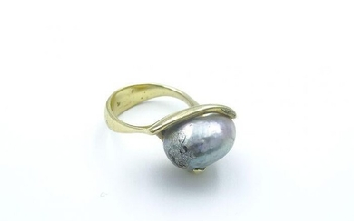 Contemporary Ed Wiener Yellow Gold and Pearl Ring
