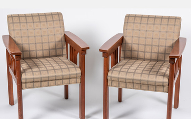 Contemporary Mahogany Upholstered Arm Chairs