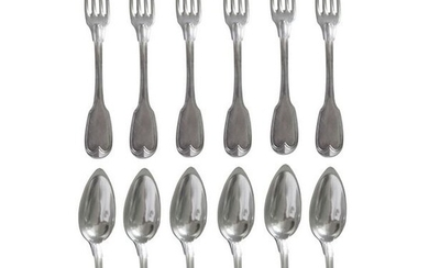 Cutlery set, cutlery set of 6 table cutlery in solid silver, Filet model, Minerva punch - period (12) - .950 silver - France - Late 19th century